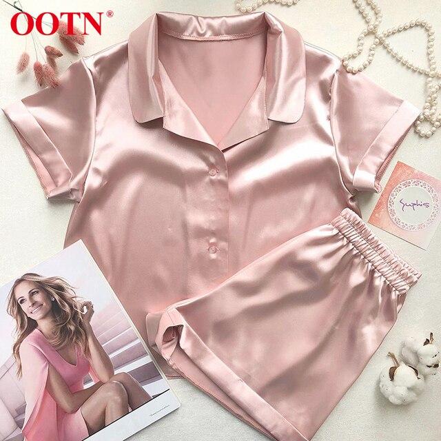 OOTN pyjama dété 2 pièces pour femme 2020, en soie solide, manches courtes, chemise + Short, vêtements de nuit décontracté
