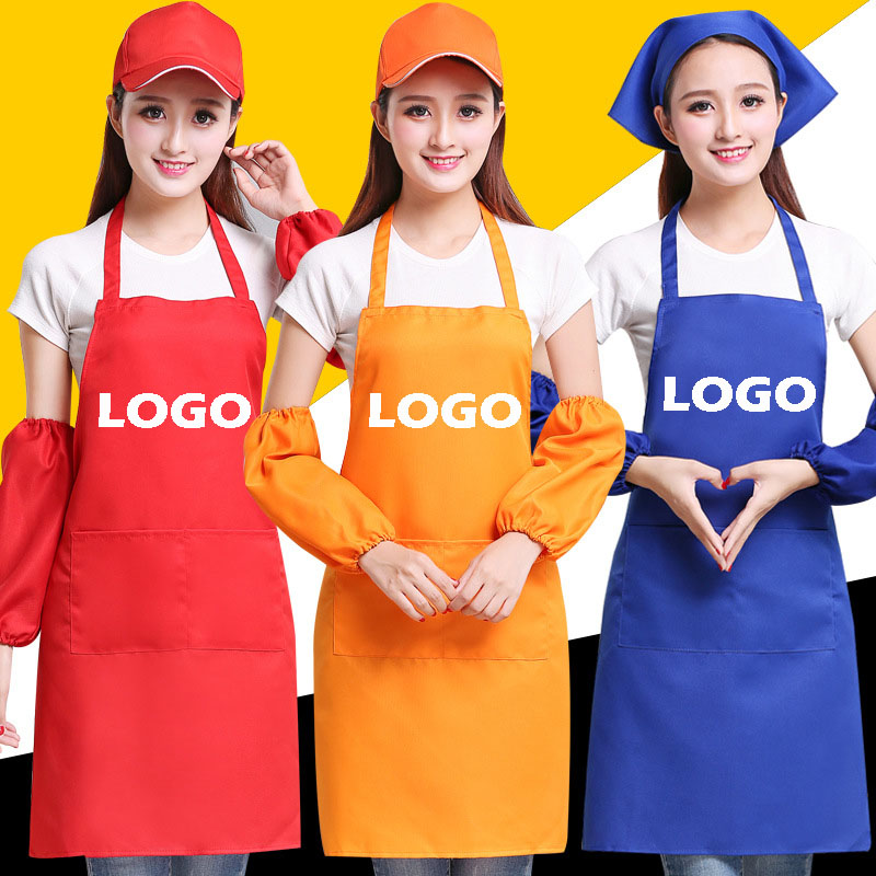 Factory Price! Free Logo Print Chef Waiter Cafe Shop BBQ Hairdresser Work Apron For Men Women Cooking Kitchen Aprons