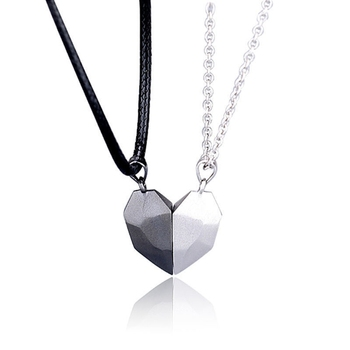 2 pi ces minimaliste amoureux correspondant amiti coeur pendentif Couple magn tique Distance facettes coeur pendentif