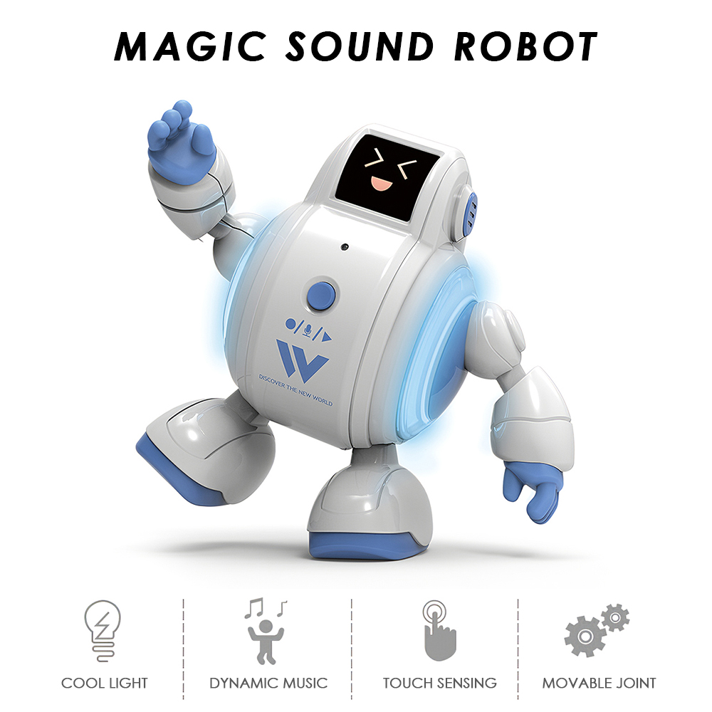 R07 Robots for Kids Interactive Robot Toys Touch Sensing Singing Robot with Emotion LED Light Facial Expression Gift Present
