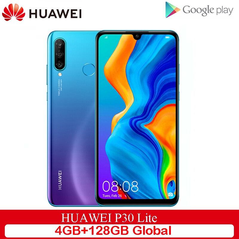 Version mondiale originale Huawei P30 Lite 4GB 128GB téléphone portable 6.15 pouces Smartphone 32MP 4 * caméras avec Google Pay Android 9.0