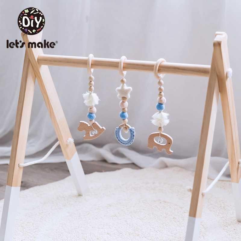 Let's Make 3 шт./компл. деревянные животных для детей от 3 до 12 месяцев, детские игрушки, погремушки для младенцев карусельки деревянный Прорезыватель для зубов для малышей кровать висит погремушки игрушки