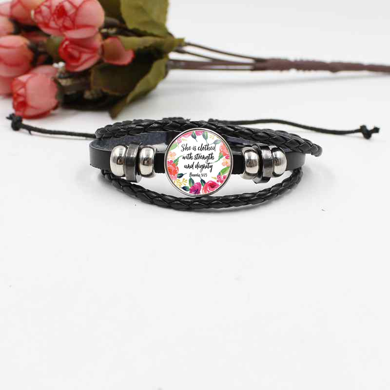 Bible Poetry Crystal Glass Bracelet Braided Leather Bracelet Belief Gift in Chain Link Bracelets from Jewelry Accessories
