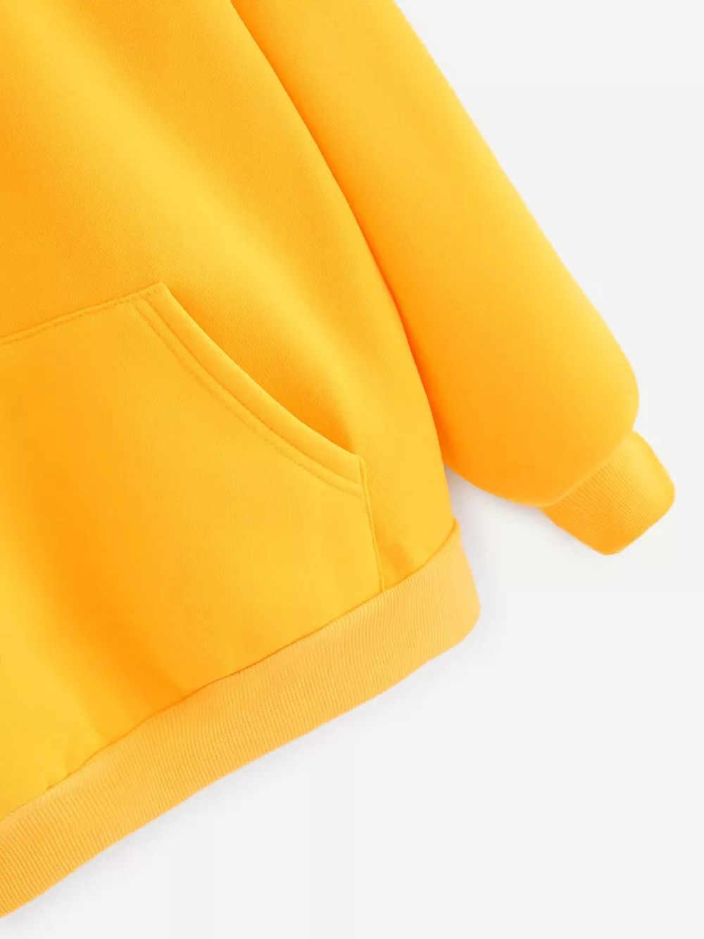 Kuning Hoodies Wanita Kaus Lengan Panjang Hoodie Sweatshirt Berkerudung Pullover Tops Blus dengan Saku Pakaian Fashion