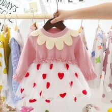 Baby Dress Girls 0-3t Korean Cotton O-neck Full-Sleeve 1 year birthday clothing Babi Girl Clothes infant цена 2017