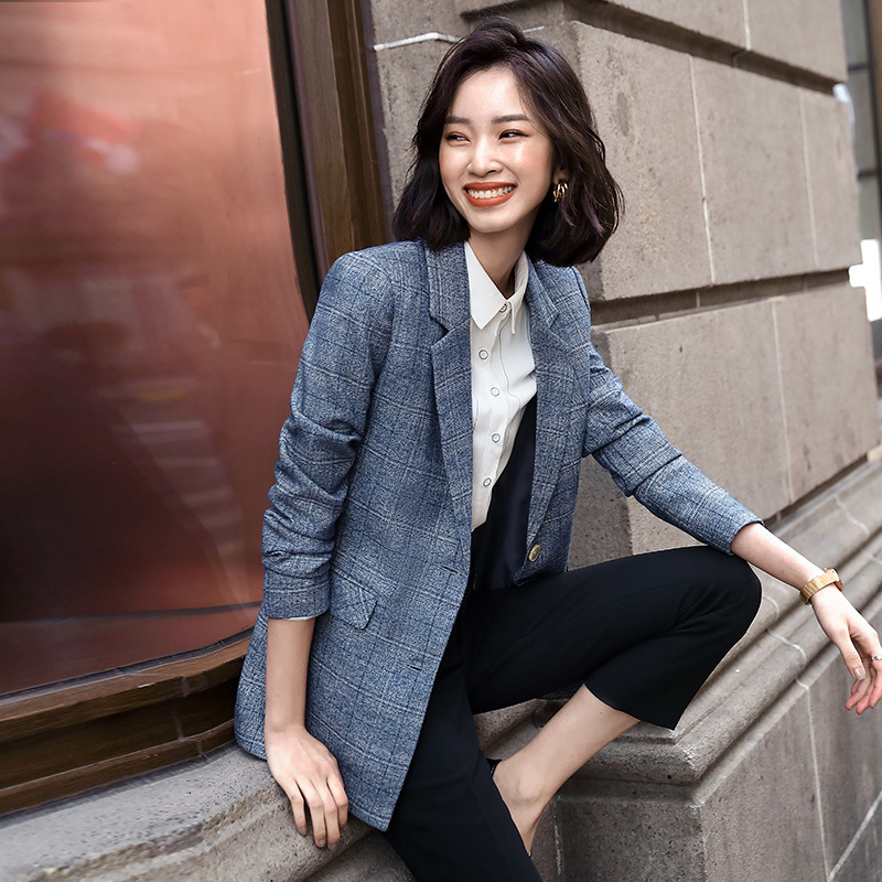 Office Lady Notched Collar Plaid Women Single-breasted Jacket 2019 Autumn Casual Pockets Female Suits Coat Femme