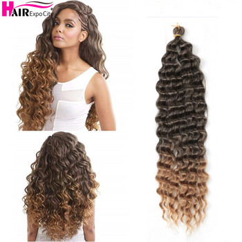 22 Inch Deep Wave Twist Crochet Hair Natural Synthetic Braid Ombre Braiding Extensions Low Tempreture Expo City - discount item  44% OFF Synthetic Hair