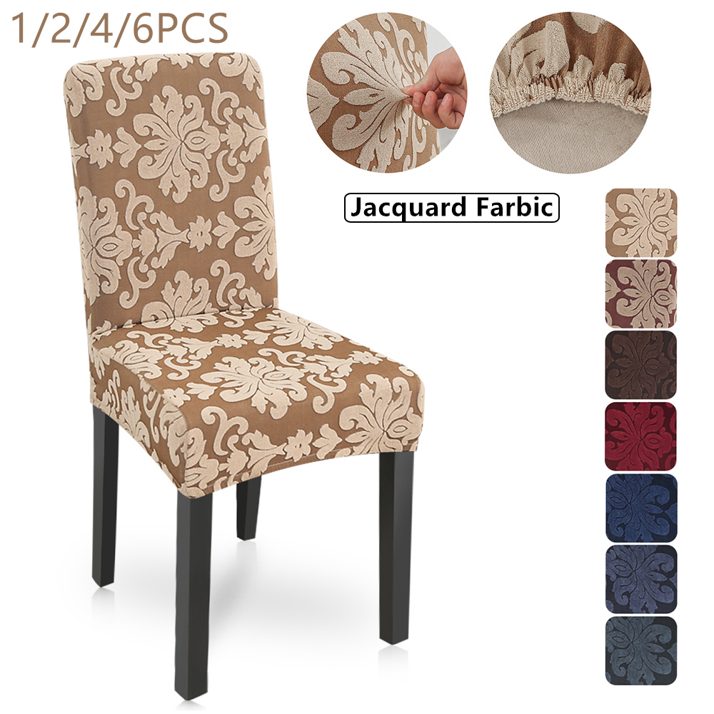 New 1/2/4/6Pcs Floral Jacquard Stretch Elastic Chair Covers Spandex For Wedding Dining Room Office Banquet Housse De Chaise