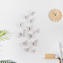 12 Pcs/Set 3D Wall Stickers Hollow Butterfly for Kids Rooms Home Wall Decor DIY Mariposas Fridge stickers Room Decoration 3pcs set 3d removable room decoration wall stickers