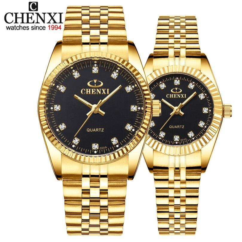 CHENXI Assistir Amantes de Aço Inoxidável de Ouro Da Moda de Luxo Casal Relógio de Pulso de Quartzo Relógios Para As Mulheres & Homens Analógico Relógio de Pulso