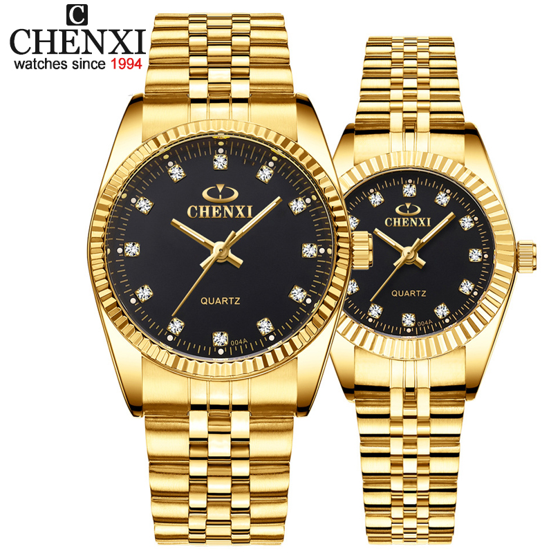 CHENXI Luxury Couple Watch Golden Fashion Stainless Steel Lovers Watch Quartz Wrist Watches title=