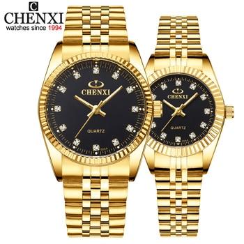 CHENXI, reloj de lujo para parejas, relojes dorados de moda de acero inoxidable para amantes, relojes de pulsera de cuarzo para mujeres y hombres, reloj de pulsera analógico