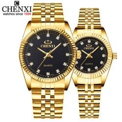 Chenxi casal luxo relógio de ouro moda amantes de aço inoxidável relógio de pulso de quartzo relógios para feminino & masculino relógio de pulso analógico