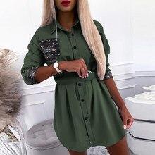Wysokiej jakości Plus rozmiar jesień wiosna elegancka koronka śliczna bluzka kobiety sukienka koszula z długim rękawem Mini solidna strona seksowna Clubwear Blusa