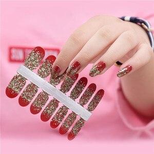 Image 3 - Brilho em pó gradiente cor adesivos de unhas envolve cobertura completa unha polonês adesivo diy auto adesivo decoração da arte do prego 29 cores