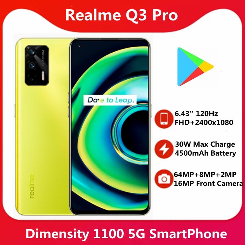Original Realme Q3 Pro 5G 6.43'' 120Hz AMOLED Screen Dimensity 1100 64MP 30W Fast Charge 4500mAh Battery Google Play 1