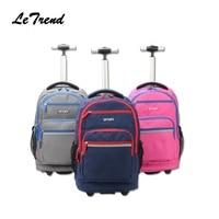 LeTrend Trolley Backpack Waterproof School Student Trolley Bag Luggage Computer Layer Multi function Pocket Boarding Travel Bag