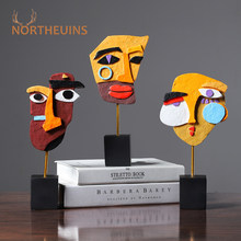 NORTHEUINS Resin Creative Human Face Color European Abstract Mask Figurines For Interior Home Office Desk Decoration Accessories