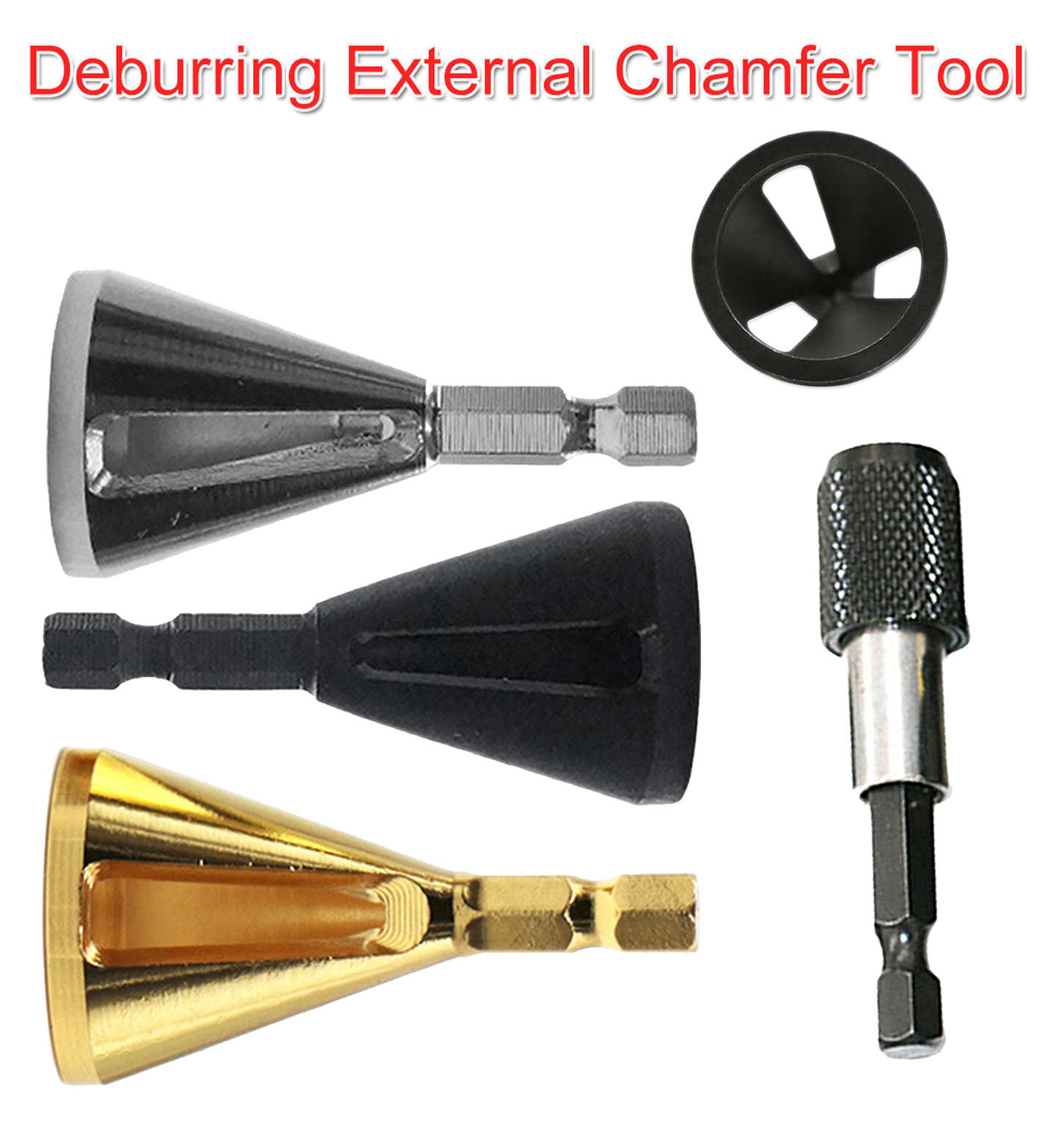 High Strength Hardness Drill Bit 1/4 Hex Steel Deburring External Chamfer Tool Remove Burr For Stainless Steel/ Wood/ Plastic