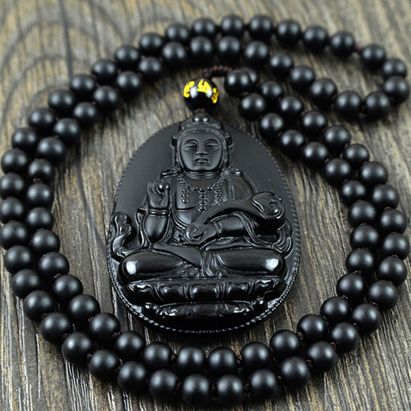 Natural Obsidian Beads Necklace Pendant Popular Men And Women Fashion Boutique Jewelry Guanyin Obsidian Jade Pendant Necklace Pe