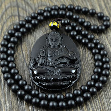 Natural Obsidian Beads Necklace Pendant popular men and women fashion boutique jewelry Guanyin Obsidian Jade Pendant Necklace Pe(China)