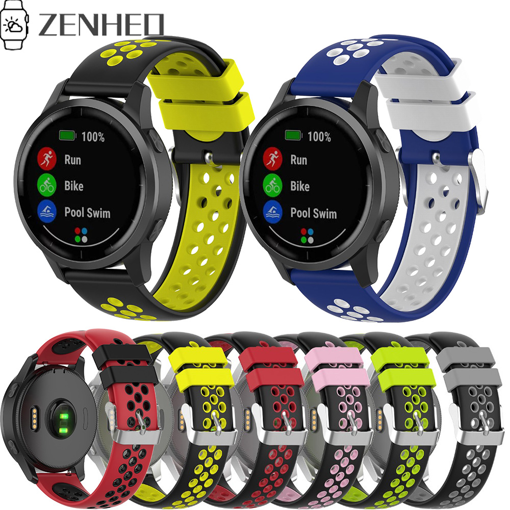 18mm 22mm Sport Watchband Replacement For Garmin Vivoactive 4 4S GPS Smart Watch Band Soft Silicone Wristband Strap