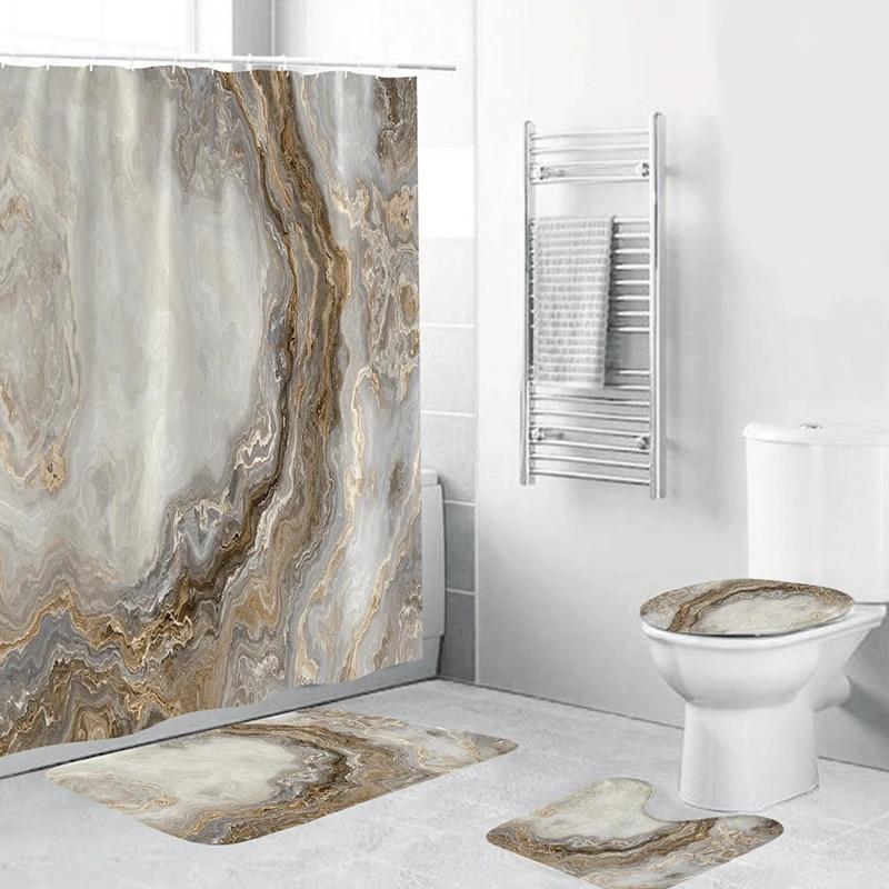 marble white shower curtain set with non slip rug bath mat carpet modern bathroom curtains toilet lid cover home decoration
