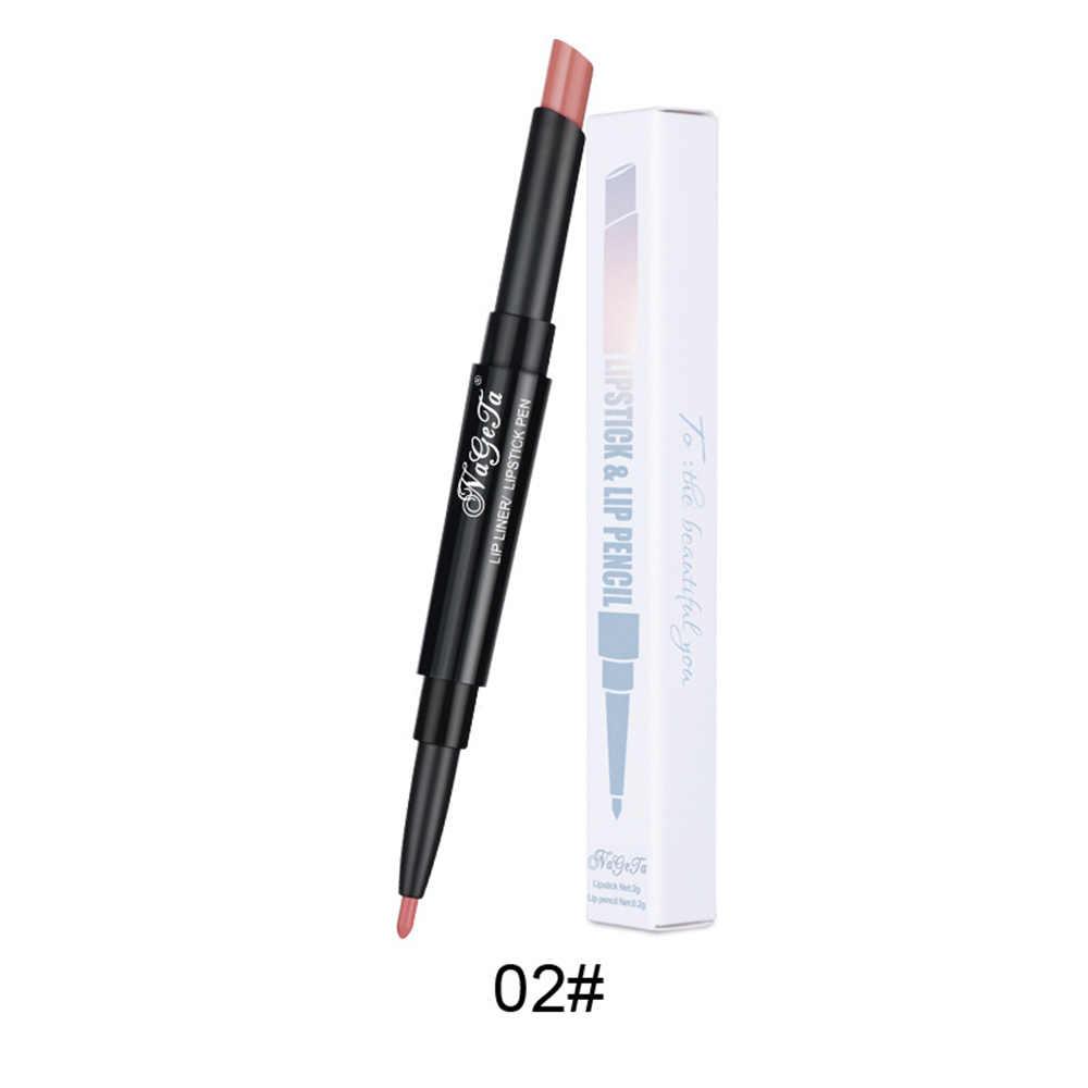 12 couleurs Double tête rouge à lèvres imperméable couleur nue 2 en 1 lèvre Liner Semi-mat hydratant lèvre cosmétique stylo TSLM2