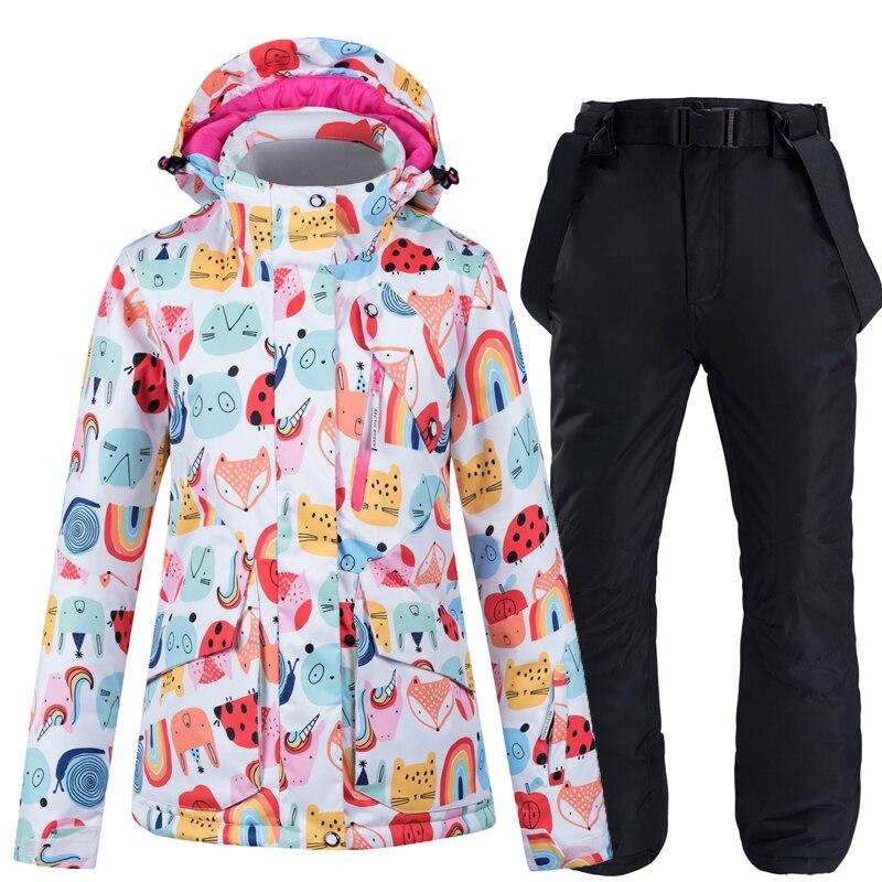 Модный яркий женский зимний костюм для сноуборда-30, водонепроницаемые ветрозащитные зимние костюмы, лыжная куртка и брюки на бретелях для д...