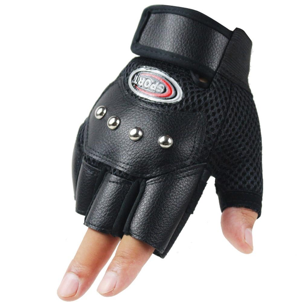 Men's Half Finger Leather Fitness Cycling Glove Bike Sport Fishing Glove Men Tactical Gym Black Rivet Punk Party Dance Glove