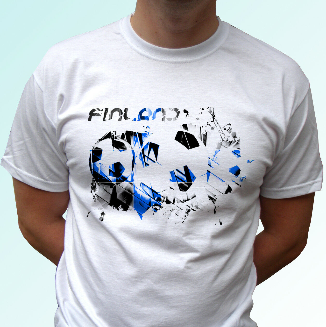 <font><b>Finland</b></font> Football <font><b>Flag</b></font> White T <font><b>Shirt</b></font> Soccer Style Design Mens Womens Kids image