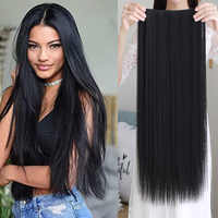 Long Synthetic Extension Heat Resistant Hairpiece NaturalHair Piece hair accessories 5 hair clips for white women girls