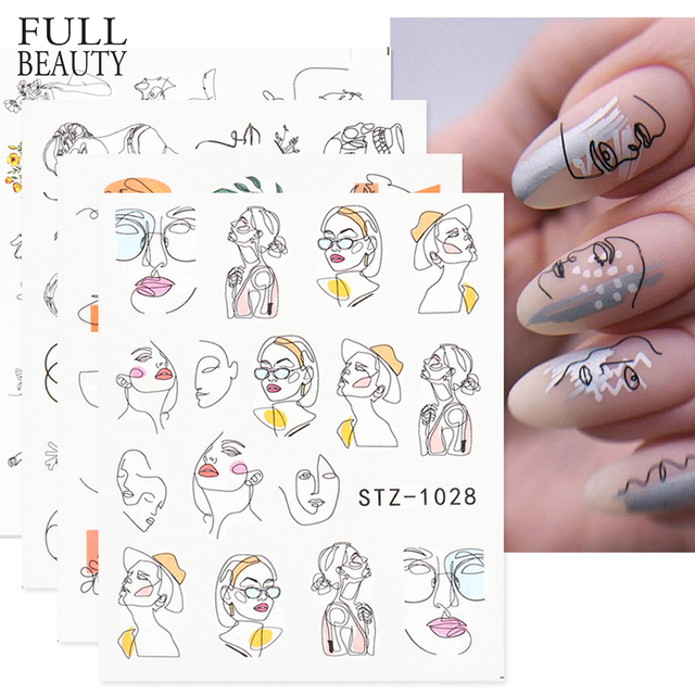 Abstract Lady Face Nail Decals Water Black Leaf Sliders Paper Nail Art Decor Gel Polish Sticker Manicure Foils CHSTZ1018-1033 1