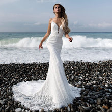 Элегантное кружевное платье с v образным вырезом; mermai свадебное