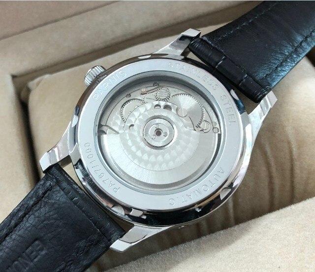 Borboleta fivela 43mm parnis branco dial reserva de energia automático auto-vento movimento mecânico masculino relógios mecânicos pa12-20