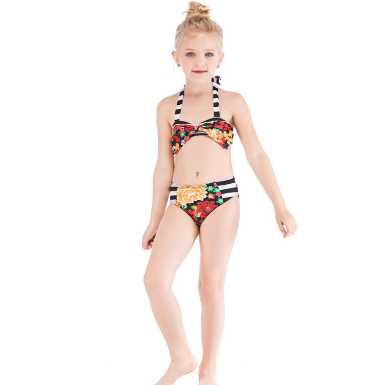 2019 Girls Swimsuit European And American-Style Hot Selling Color Panel Printed One-piece Swimsuit Set Swimsuit