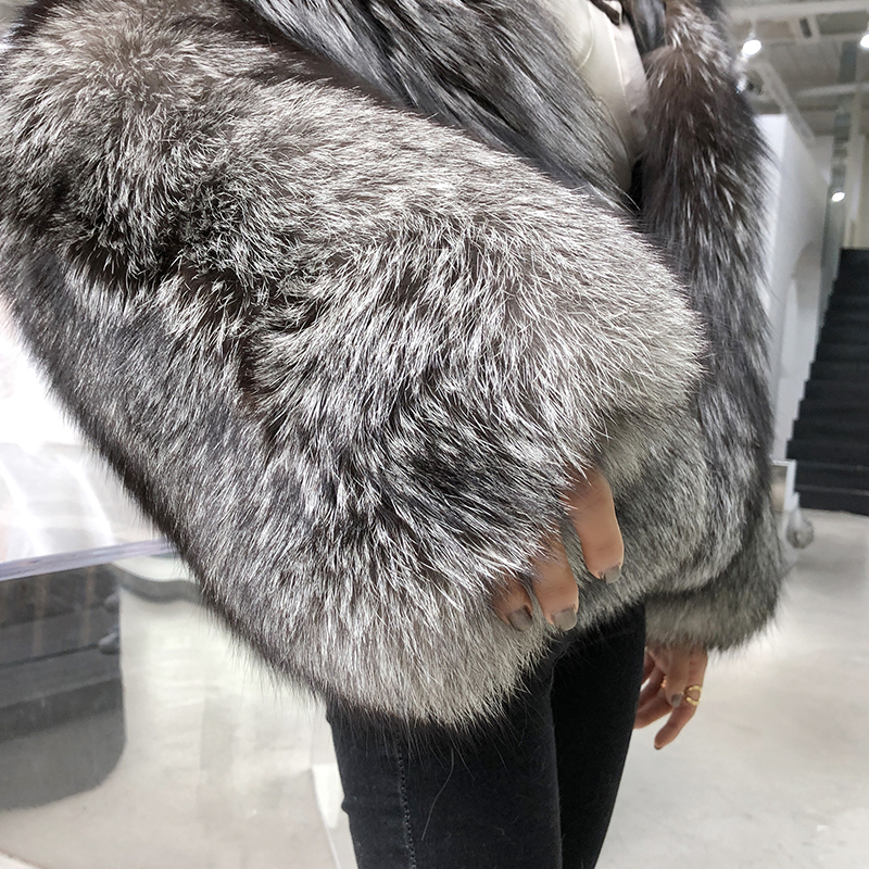 Fur Coat From Natural Silver Fox Fur Winter Warm Thickening Fur Jacket Top Quality Chaqueta Invierno Mujer 17078MF414