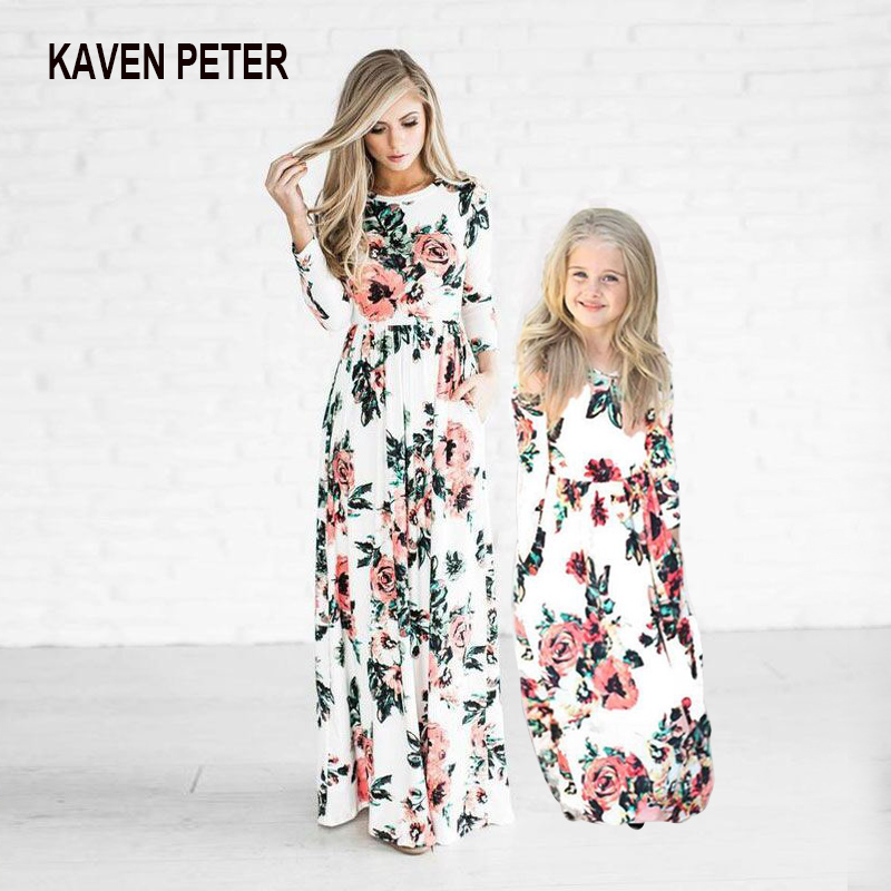 Parent-Child Long Dress Floral Printed Mother-Daughter Dress Nine-Sleeve Long Skirt Family Clothes