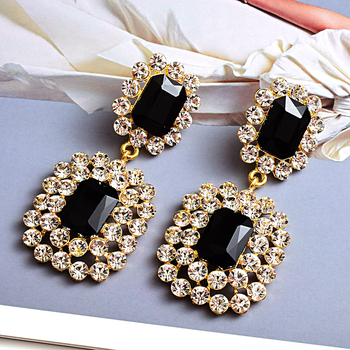Luxury Crystals High-quality Stone Studded geometric Drop Earrings 3