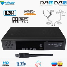 Vmade Digital Terrestrial Satellite Receiver Combo TV Box DVB-T2 DVB-S2 Full HD 1080P TV Tuner Support Cccam AC3 IPTV For Russia dvb t2 dvb t h 264 full 1080p mpeg 2 4 digital tv tuner iptv m3u hd set top box support youtube meecast terrestrial receiver