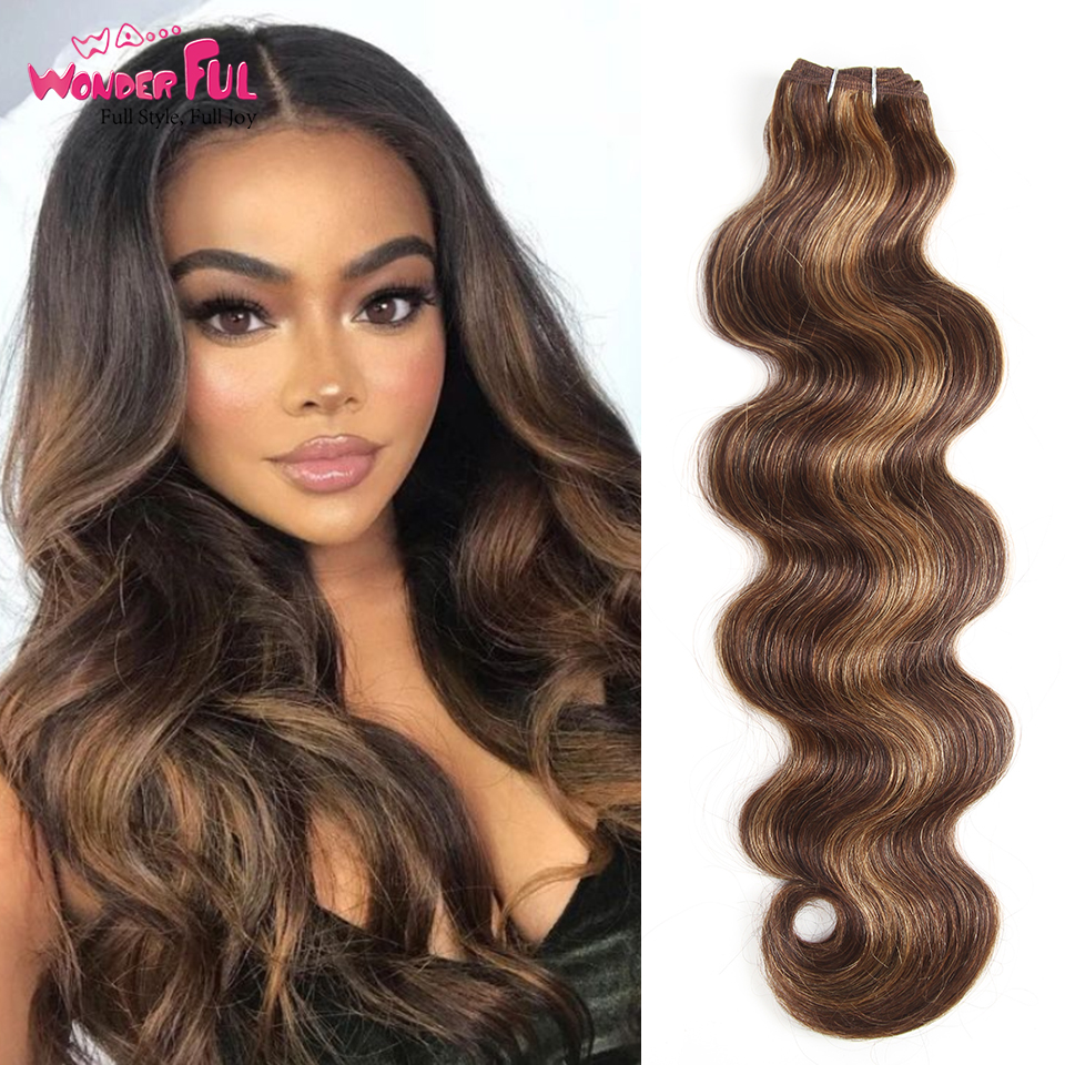 Body Wave Brazilian Hair Weave Bundles 113g Remy Hair Extension Pre-Colored P4/27 P1B/30 P4/30 Brown Human Hair Extensions 1pcs