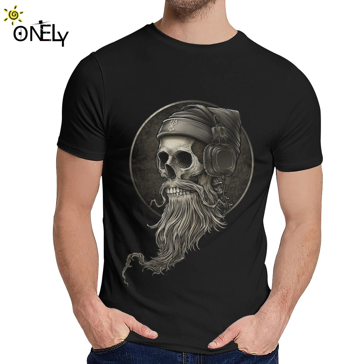 Camiseta de hombre de ocio Winya n. ° 99 calavera barba Calidad Algodón moda cuello redondo dibujo impreso La Camiseta
