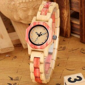 Image 2 - Vogue Octagonal Shape Wooden Watch Womens Crystal Diamond Dial Quartz Wristwatch Bamboo Wood Bracelet Hour Clock for Lady Girls