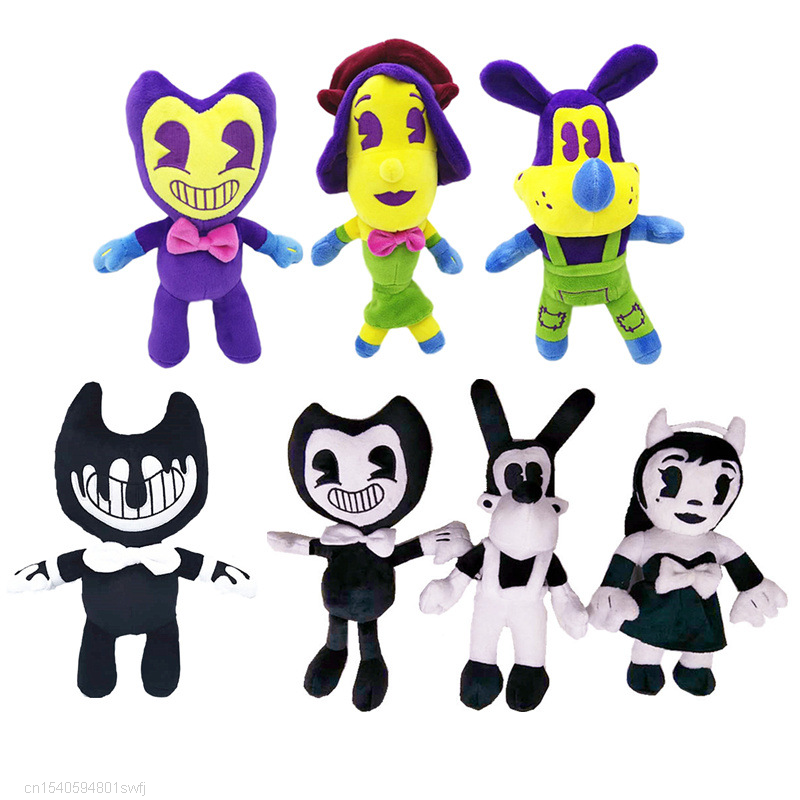 New 25-30cm Horror Game Bendy Doll And Ink Machine Plush Toys Colorful Bendy Bandy Plushie Stuffed Figures Toy For Children Gift