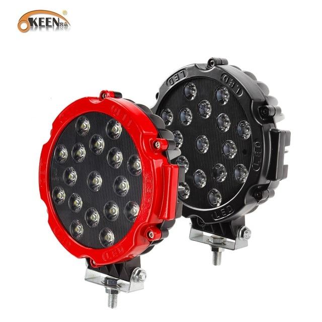 """OKEEN Barra de luz LED de alta potencia, foco de trabajo de 7 """", 51W, foco de conducción por inundación, para todoterreno, 12V, 24V, 4x4, 4WD, barco, SUV, camión, JEEP"""