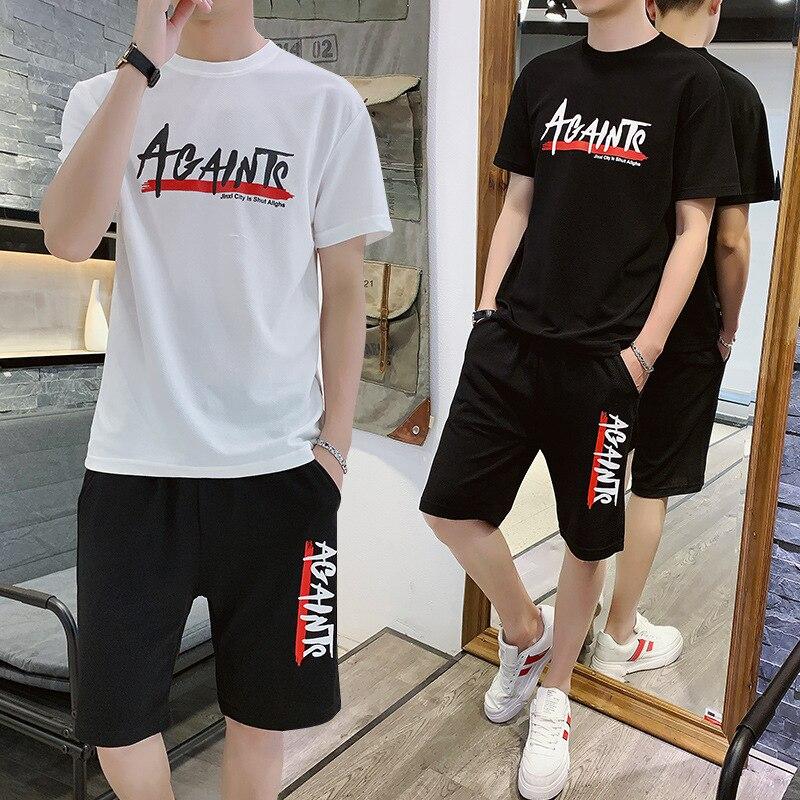 Summer Boy Short Sleeve Trend Teenager T-shirt Junior High School Students Summer Sports Clothes Casual Slip-Set