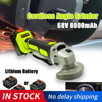 Cordless Angle Grinder 68V 3000rpm Brushless Polisher Grinding Metal Cutter 8000mAh Lithium ion Battery Rechargeable Power Tool