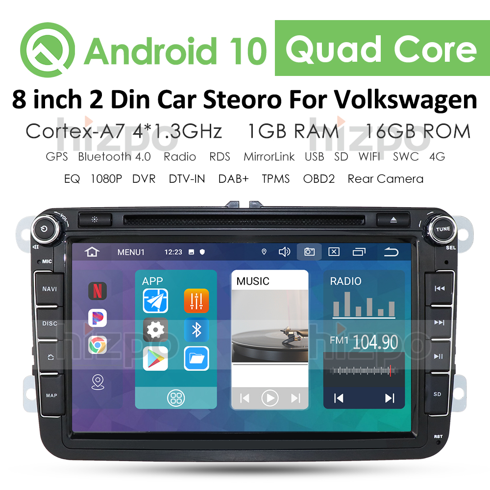 2din Android 10 Car DVD Player for VW POLO GOLF 5 6 POLO PASSAT B6 CC JETTA TIGUAN TOURAN EOS SHARAN SCIROCCO CADDY Multimedia image