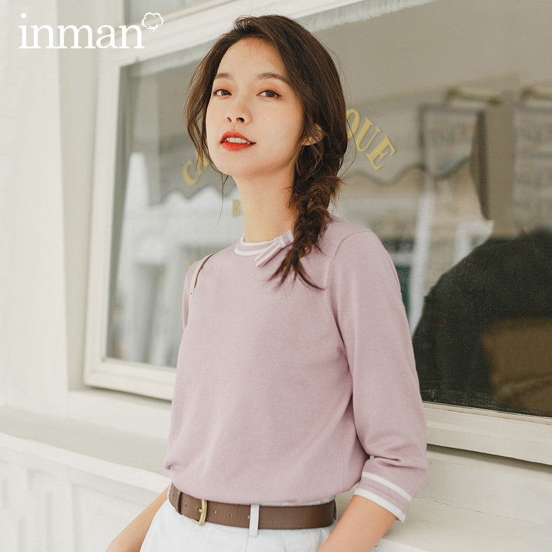 INMAN 2020 Spring New Arrival Literary Age-reducing Round Collar Bowknot Contrast Color Short Sleeve Knitwear