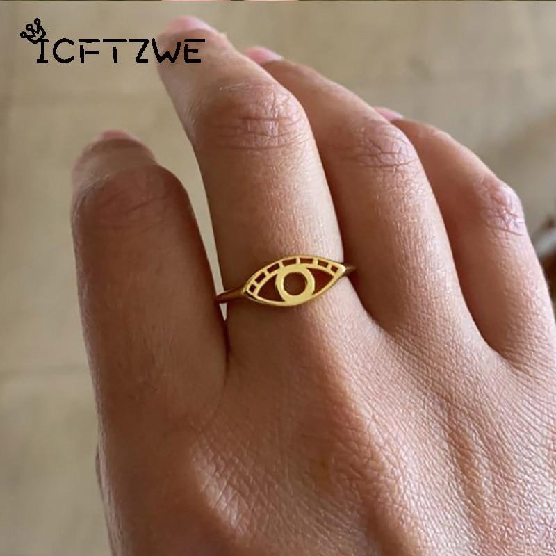 Hollows Evil Eye Rings For Women Stainless Steel Gold Silver Color Couple Finger Ring Femme Men Birthday Gift Mujer Bijoux 2021